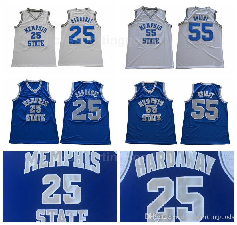 official photos e7844 5a455 NCAA College Men Basketball 25 Penny Hardaway Jersey Memphis State Tigers  55 Lorenzen Wright Jerseys Sale Team Color Blur Away White