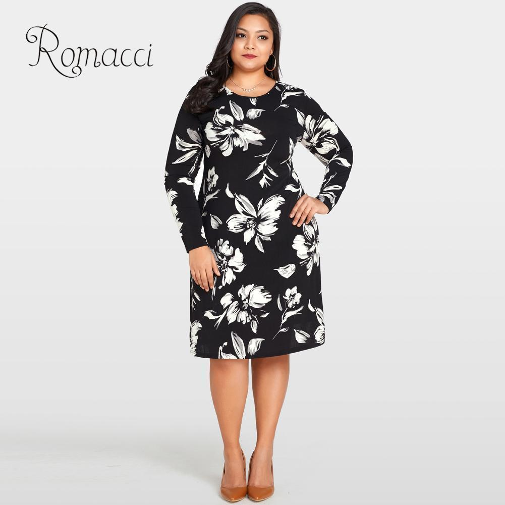 5b89e5102d74 2019 Romacci Women Floral Print Dress O Neck Long Sleeve Loose Flower Midi  Dress Casual 4xl 5xl Plus Size Autumn Dress Black Vestido Y19012201 From  Tao02, ...