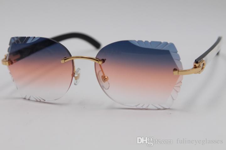 8bb6b57fbf8 Wholesale Rimless Sunglasses Carved Lens T8200762 White Inside Black  Buffalo Horn Sunglasses New Rimless Glasses Hot Unisex SunGlasses New  Vuarnet ...