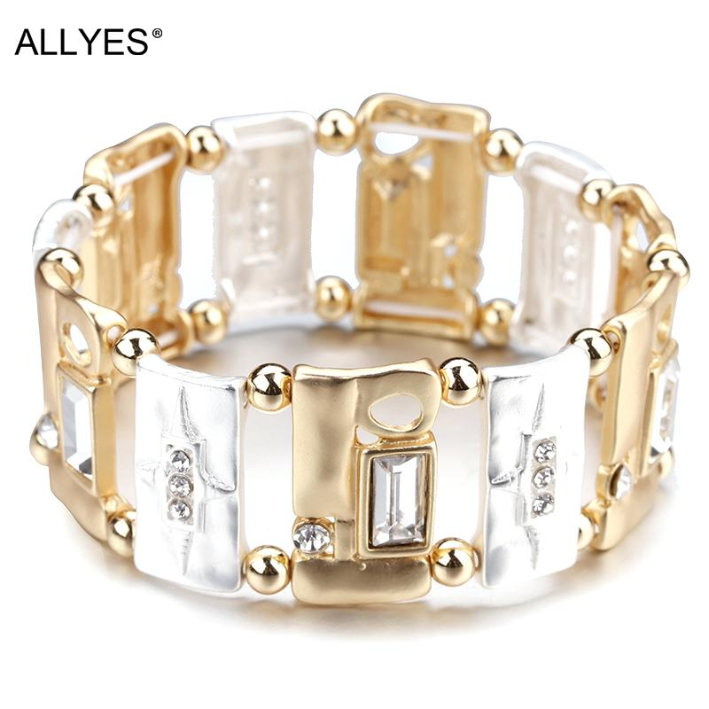 ALLYES Luxury Gold & Silver Color Bracelets For Women Beads Star Pattern Geometric Square Metal Charm Bracelet Female Jewelry