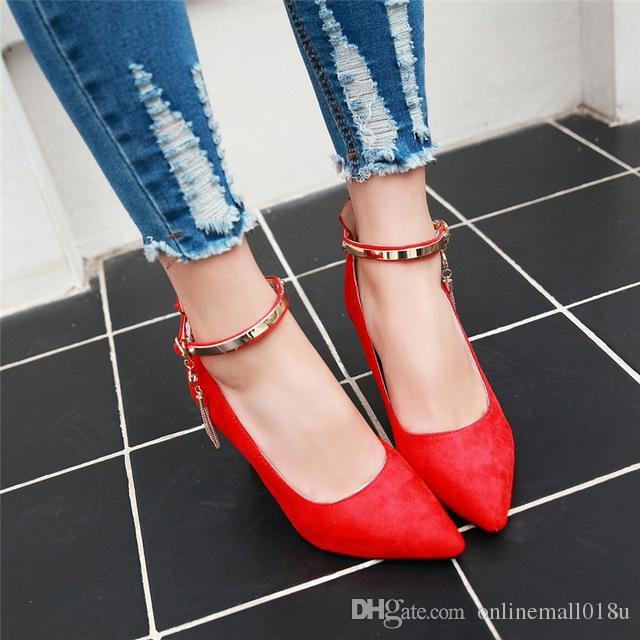 Summer Women Pointed Toe Ankle Strap Chains Bead Flock High Heel Party Dress Shoes Black Red Lady Pumps Plus Size