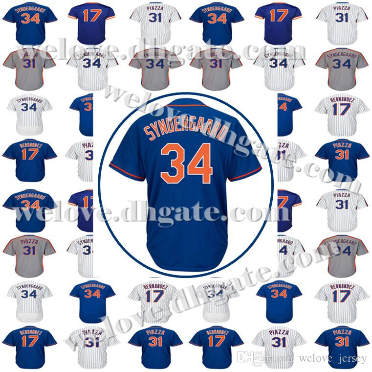 0dfba9b2c6 Cheap Sale Mens 34 Noah 52 Cespedes Majestic 18 Darryl Strawberry Baseball  Jersey Steven 48 Jacob DeGrom Top quality jerseys Free Shipping
