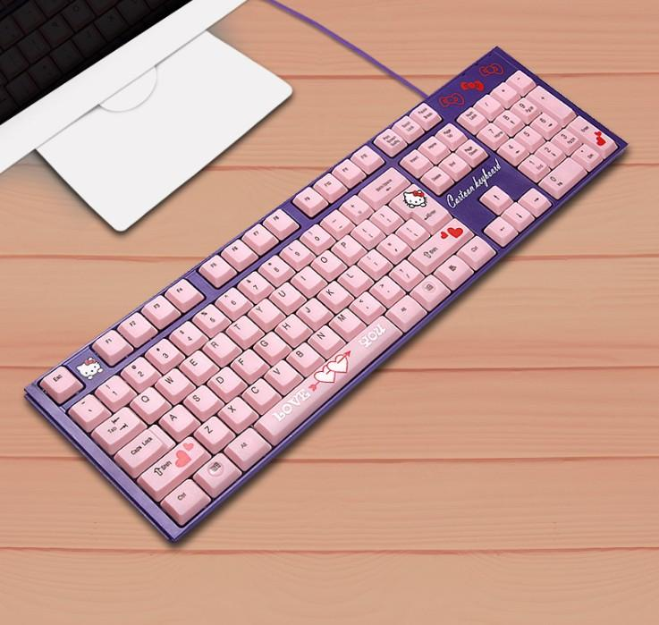 bad00315d8c Waterproof Silent Pink Hello Kitty Laptop Computer Keyboard Cartoon Cute Pink  USB Wired KT Cat Keyboard Gaming For Girls Picture Of Keyboard Pink Keyboard  ...