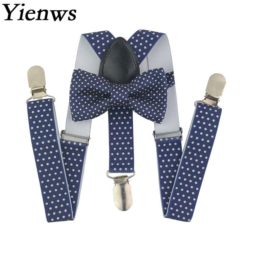 d38aa0ac5 Kids Bow Tie And Suspenders Baby Navy Polka Dot Girls Boys Suspenders Bowtie  Tirantes Bebe Bretels Kinderen YiA147 Underwear Shops Patterned Tights From  ...