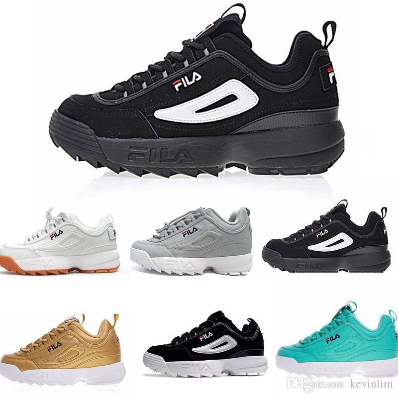 d565f201 Compre FILA Disruptor 2 II 2018 Top Disruptors II 2 Zapato Mujer Hombre  Scarpe Blanco Negro Gris Rosado Dama Zapatos Casual Zapatillas Deportivas  Jogging ...