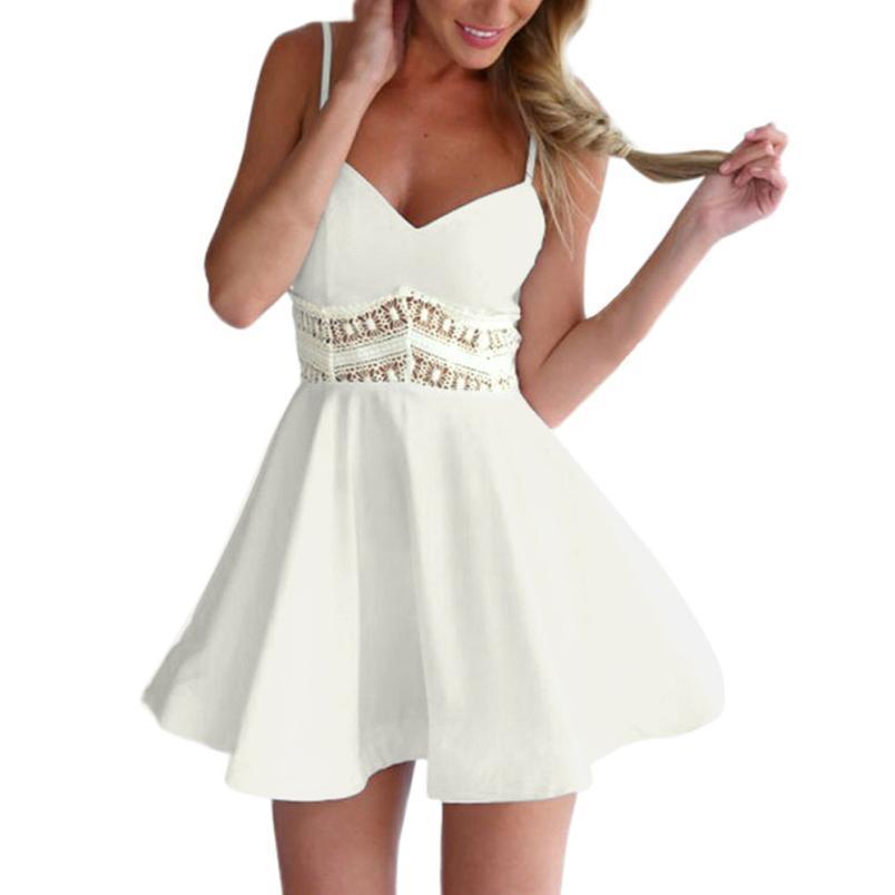 7527b15439bf Acquista Vestito Sexy Estivo Vestito Corto Bianco Con Spalle Scoperte  Vestito Sexy Con Scollo A V Scollato Sexy E Club 2019 Vestido Blanco A   26.63 Dal ...