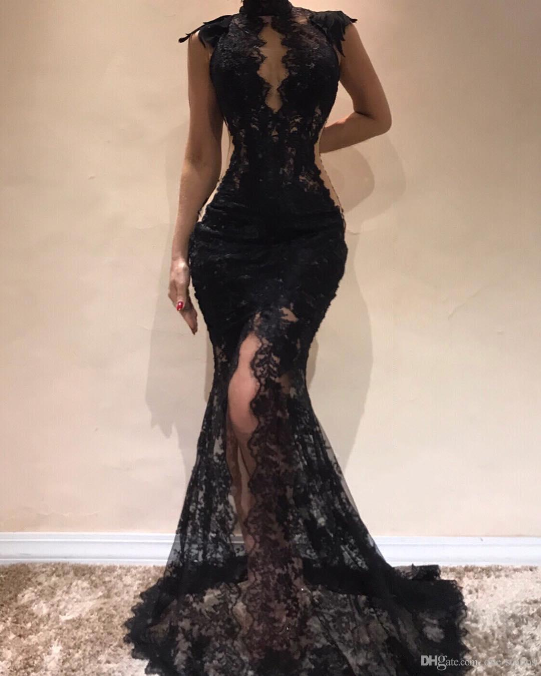 Black Full Lace Prom Dress High Slit Sexy Evening Dress Beaded Sheer Lace Party Sexy Mermiad Dresses Custom Made