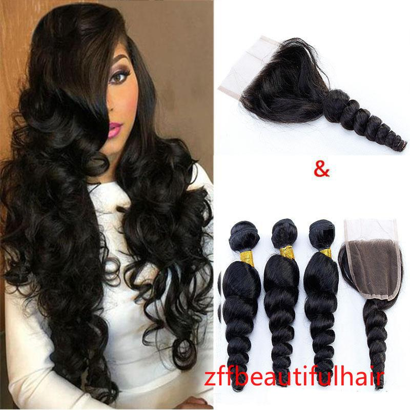 Brazilian Loose Wave 3 Bundles Deals With Lace Closure Cheap Loose Deep Wave Kinky Curly Water Wave Remy Human Hair Weave Extensions