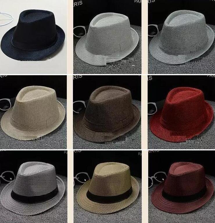 4f32ed748386 34 Colores eligen Hombres Mujeres Sombreros de paja suaves de Fedora Panamá  Algodón / Lino Gorras de paja Sombreros de ala de ala al aire libre ...