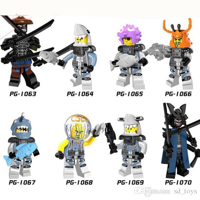 PG8077 Garmadon Shark Army Great White Puffer Lantern fish Lead Crab Jerry Hamer Toys