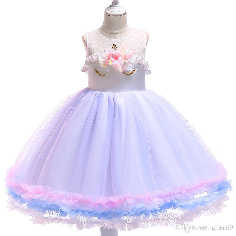 Dresses Rational 2019 Kids Wedding Summer Girls Dress Unicorn Princess Dress Pink Party Kids Clothes Costume Girls' Clothing