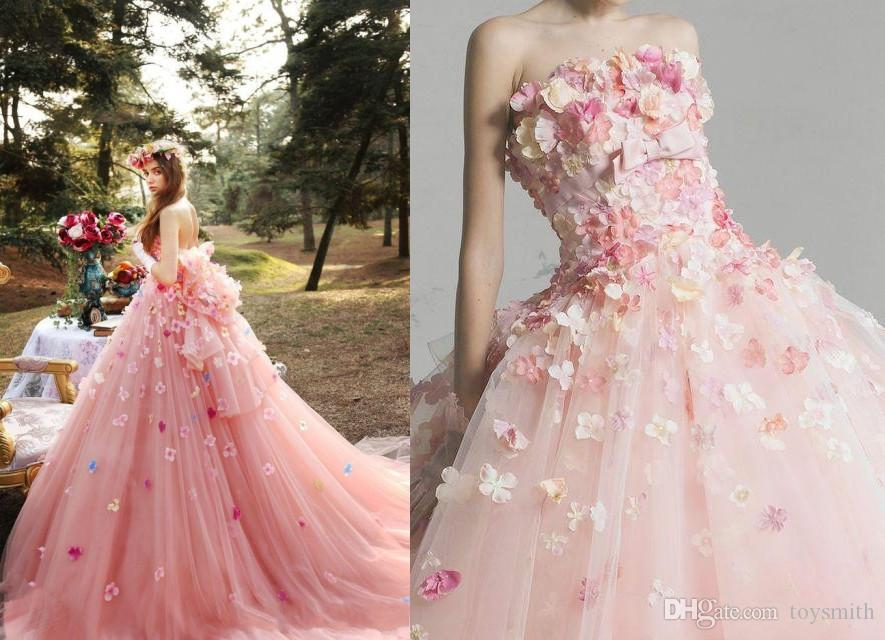 f3fd08cb734e Discount Romantic 3D Flower Pink Tutu Wedding Dresses 2019 Puffy Tulle  Bridal Gowns Off Shoulder Lace Up Plus Size Vestido De Noiva Affordable  Wedding ...