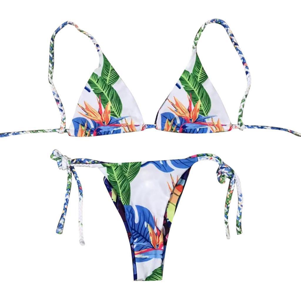 bb69d24f10635 2019 Women Lace Up Printed Padded Two Sided Bathing Suit Bikini Set  Swimwear Swimsuit Braided Strap Double Sided Print Split Bikini 7 From  Xx2015, ...