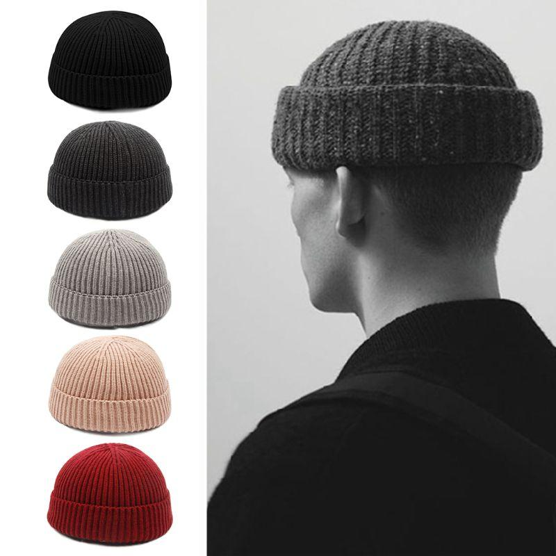 d2ceb2788a6 2019 Women Unisex Winter Thicken Thread Knitted Hat Vintage Korean Solid  Color Cuffed Short Melon Cap Beanie Hat Hip Hop Streetwear From Annuum