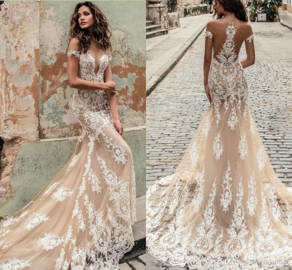 Best Champagne 2020 See Through Champagne Tulle Mermaid Wedding Dresses 2020 Elegant