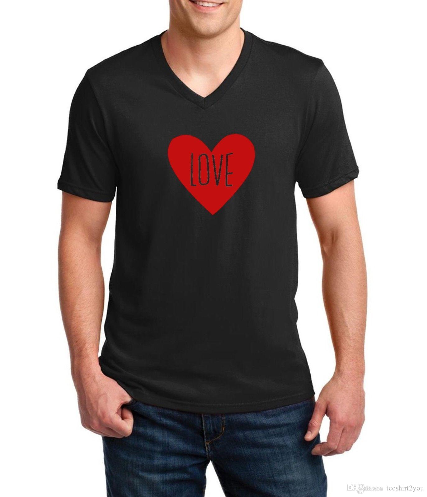 Mens V Neck Love T Shirt Tee Valentines Day T Shirt Anniversary
