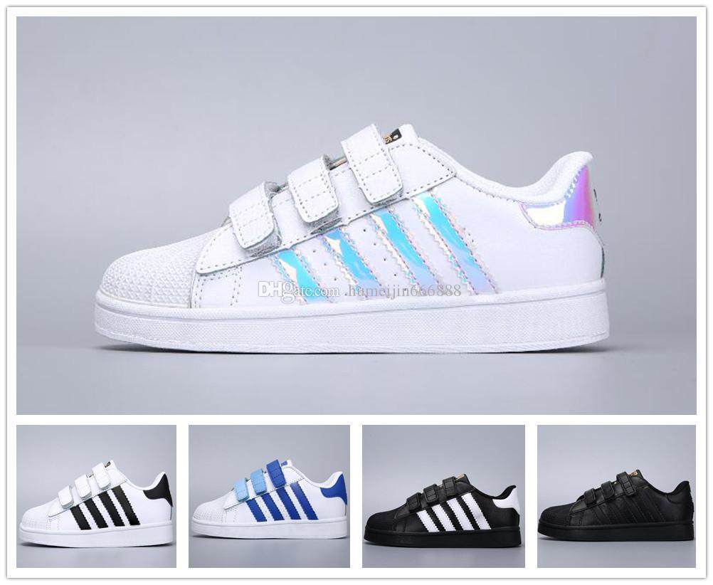 new style 85944 da228 Brand Children Superstar shoes Original White Green baby kids Superstars  Sneakers Originals Super Star girls boys Sports Casual Shoes 24-35