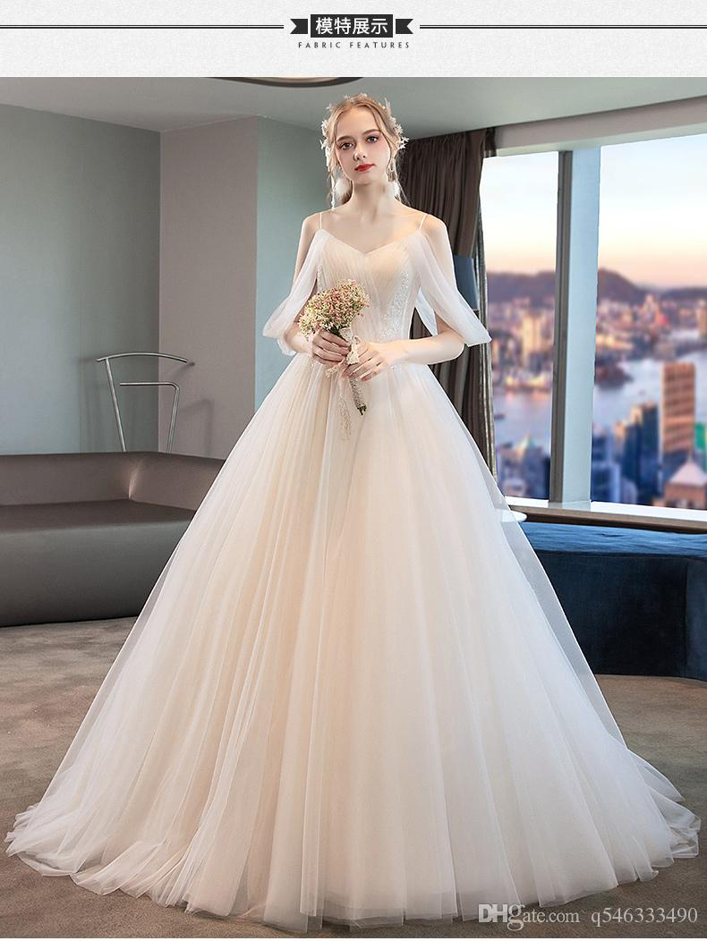 Wedding Dress 2019 New Bride French Simple Mori Trailing Hepburn Female Vibrato With The Same Strap Slimming Super Fairy Dresses Lace: Simple Strap Wedding Dresses At Reisefeber.org