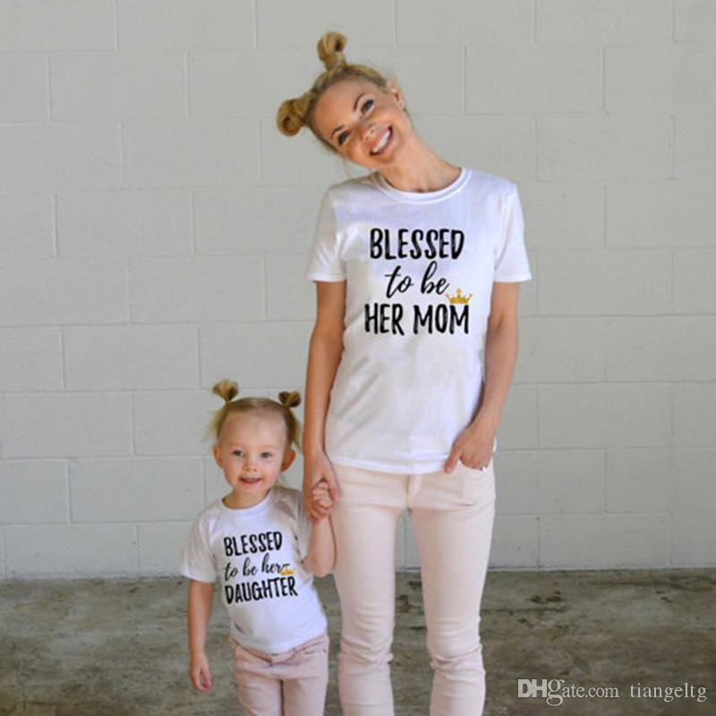 Family Matching Shirts Mother Daughter T-shirts Letters Printing Tops Mother's Day Clothes Short Sleeve Mom Girls Tees
