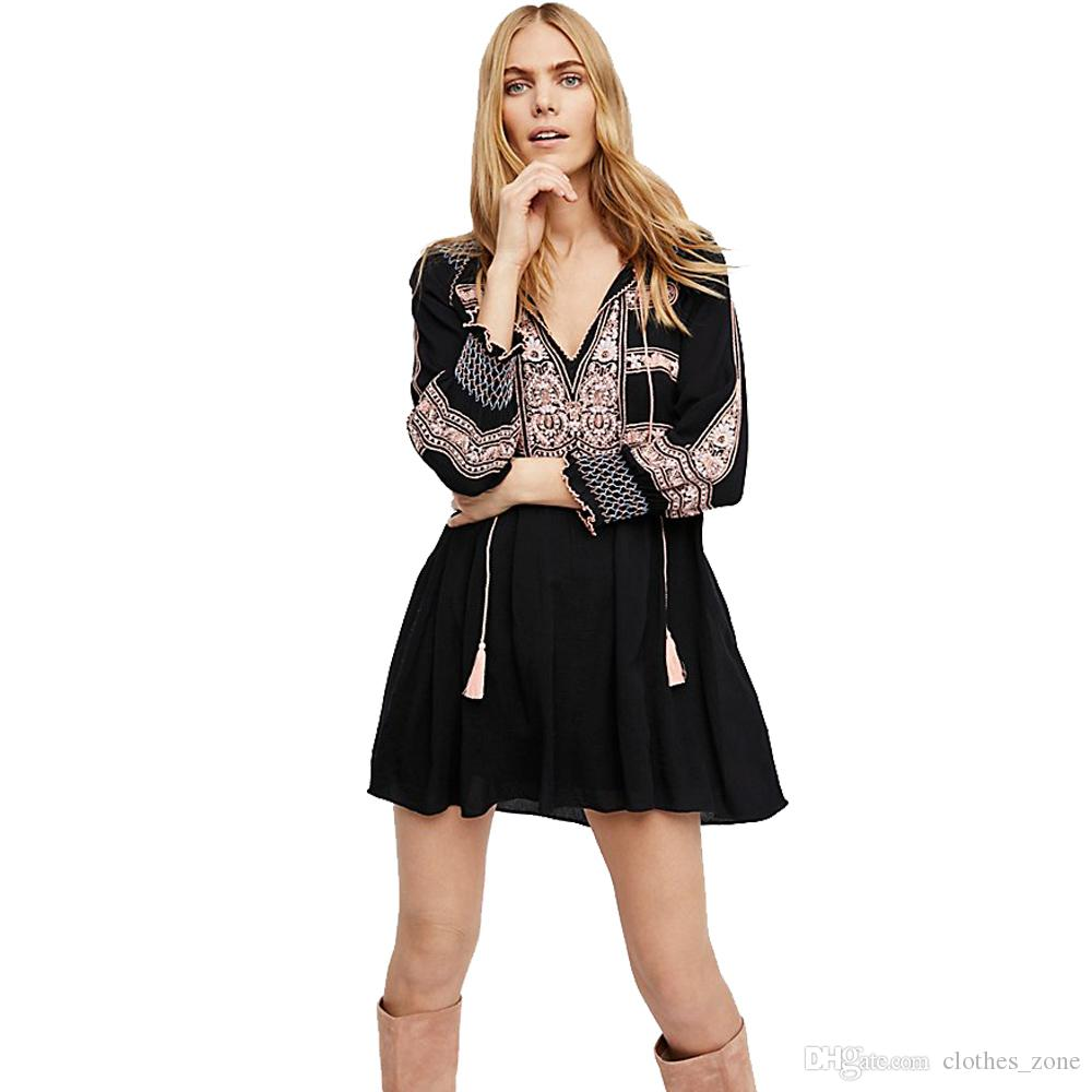 1464e6b6573 Best Bohemian # Mini Dress Black Tunic Blouse Vintage Embroideried Casual  Streen Beach Holiday Party Dresses Dress Usa Black And White Cocktail  Dresses From ...