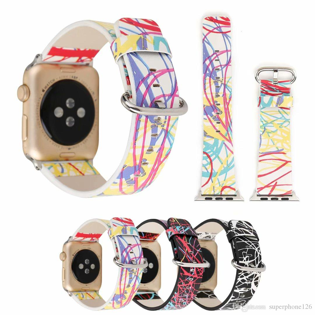 for Apple Watch Band Dream Space Leather for iwatch Hand Loop Unique Beauty of Line Adjustable Wrist Strap with 42mm 38mm for Men Women