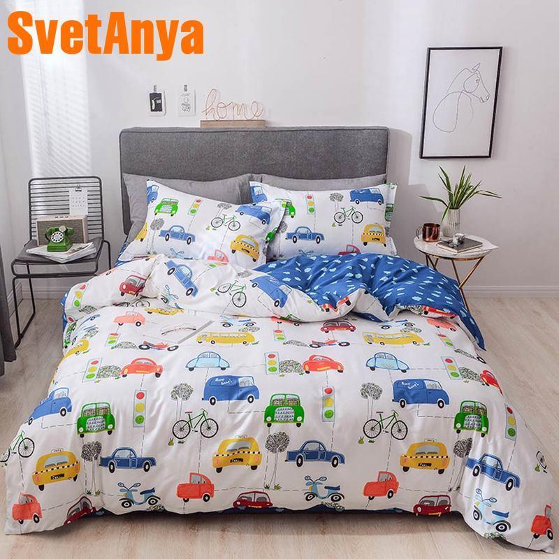 Svetanya Cotton Bedding Set Car Boys Teens Bedlinen Flat Sheet Pillowcase Blanket Cover Sets For Kids Adults