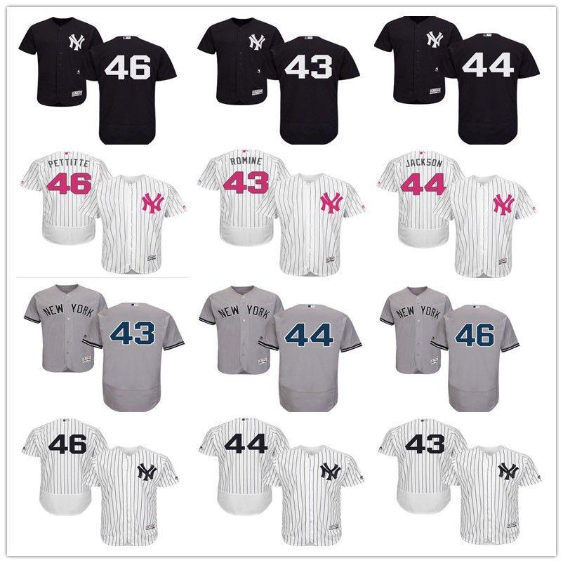 2019 2018 Custom Men S Women Youth Majestic NY New York Yankees Jersey  44 Reggie  Jackson 43 Austin Romine 46 Andy Pettitte Home Baseball Jerseys From ... 2fb743637e6