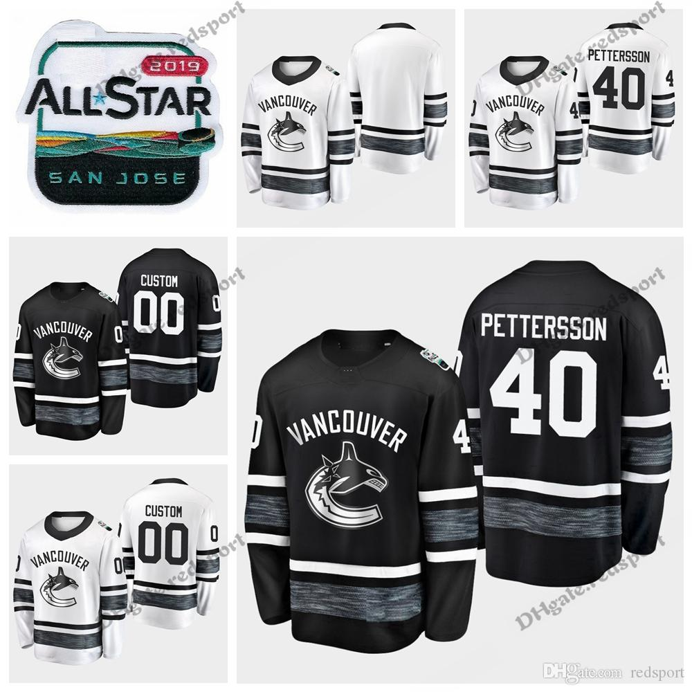 san francisco 6cec4 7c66f 2019 All Star Elias Pettersson Vancouver Canucks Hockey Jerseys Black White  Customize Hockey Shirts #40 Elias Pettersson Stitched Jerseys