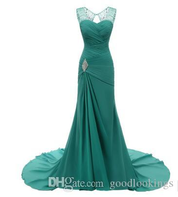 Mermaid Sweetheart Floor Length Chiffon Cap Sleeve Prom Dresses Beaded Pleats Discount Prom Gowns Formal Evening Dresses