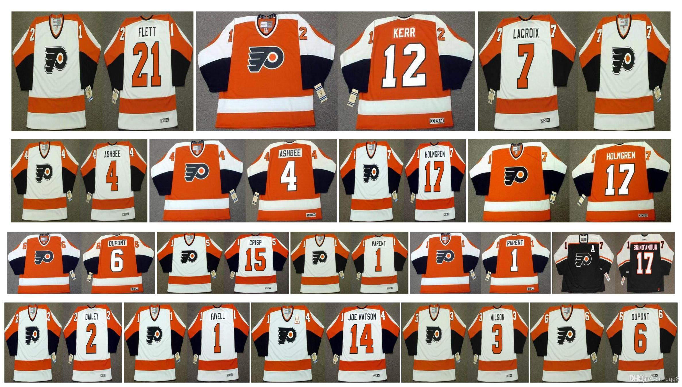 huge discount 91c48 4f542 Vintage Philadelphia Flyers Jersey 4 BARRY ASHBEE 17 PAUL HOLMGREN 21 Bill  Flett 7 ANDRE LACROIX 2 Bob Dailey 1 DOUG FAVELL CCM Hockey
