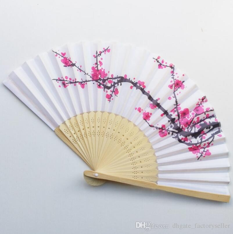 DHL Free Shipping 100pcs/lot cherry blossom silk hand fan wedding favor plum blossom hand folding fan wintersweet LX7123