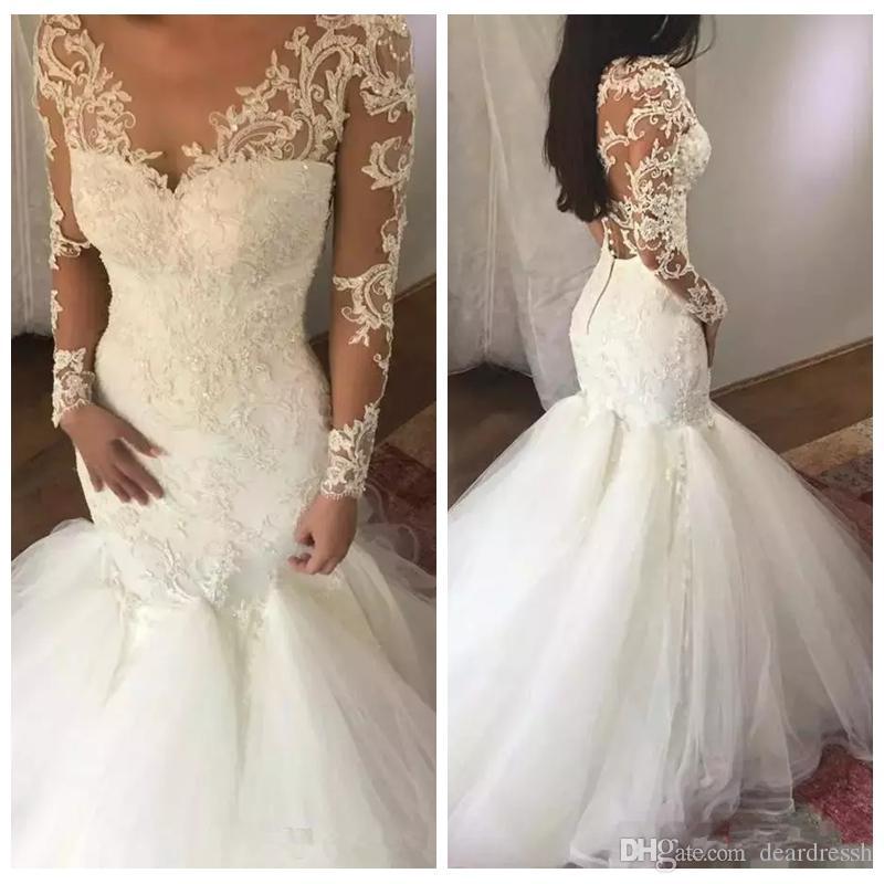 884290c31d 2019 Sheer Long Sleeves Mermaid Long Wedding Dresses Beautiful Dubai Slim  Trumpet Tulle Skirt Bridal Gowns Lace Appliques Middle East Vintage Wedding  ...