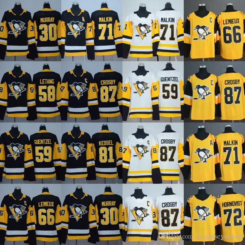 Mens Pittsburgh Jersey 30 Matt Murray 59 Jake Guentzel 66 Mario Lemieux 71 Evgeni Malkin 81 Phil Kessel 87 Sidney Crosby Hockey Jerseys