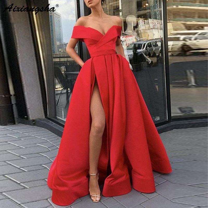 e0069fd0e Compre Elegante Fuera Del Hombro Vestido De Fiesta Rojo Satinado Vestido De  Fiesta Sexy Azul Cielo Corte Alto Más Tamaño Vestidos De Baile 2019 Largo  ...