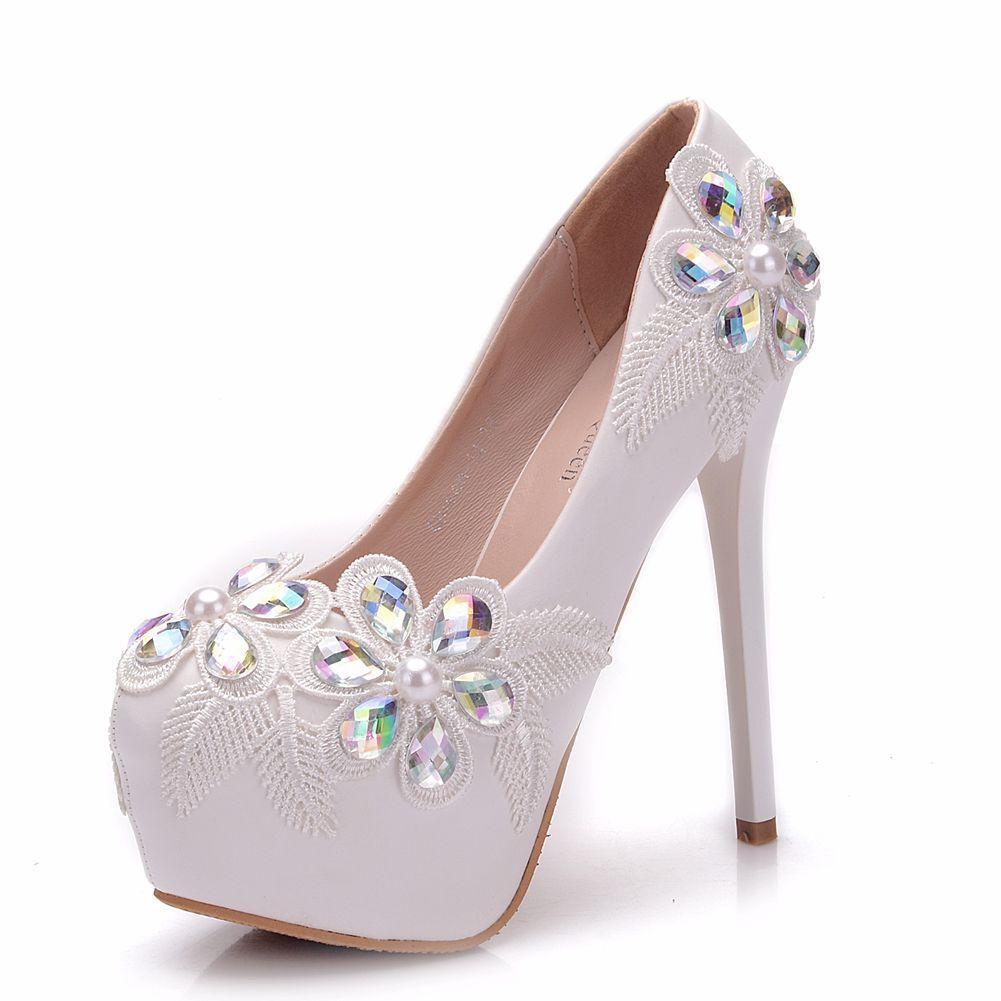 High Heel Pumps Rhinestone Leather Women Shoes Round Toe White ... 0bfbeaf33187