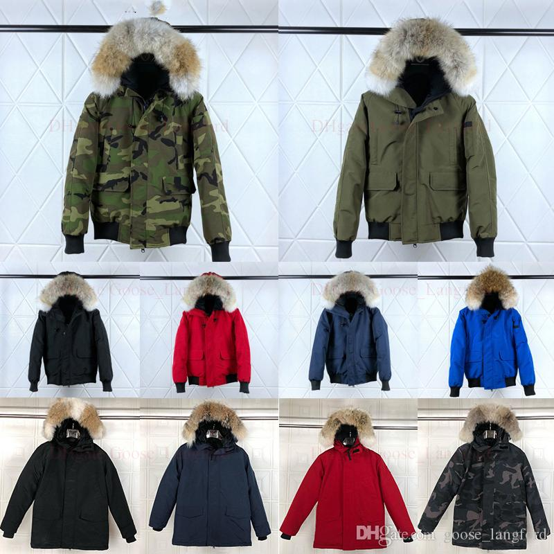 Wolf Fur Men Winter Jacket Windbreaker Clothes Mens 2019 Luxury Designer Jackets Goose Bomber Down Jacket North Parka Trench Coats Doudoune