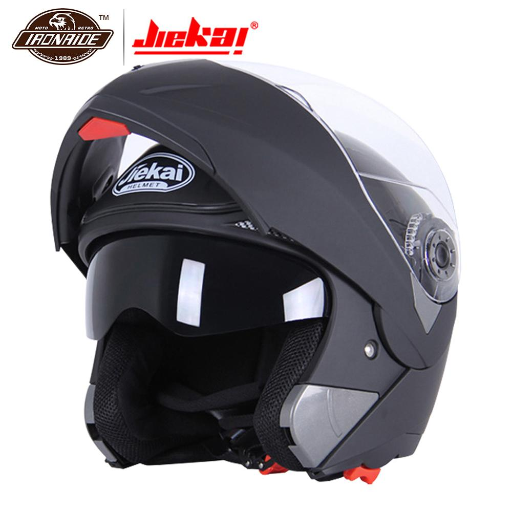 JIEKAI Black Motorcycle Helme Motocross Helmet Full Face Helmet Men Flip Up Visor Racing Modular Motorbike Riding Moto Casco