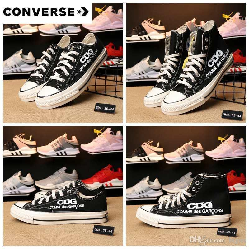 2018 New Converse All Stars Shoes CDG Brand Women Men Black High Low Tops  Designer Casual Running Skateboard Canvas Sneakers 35 44 Black Shoes  Wholesale ... f1a080e0a