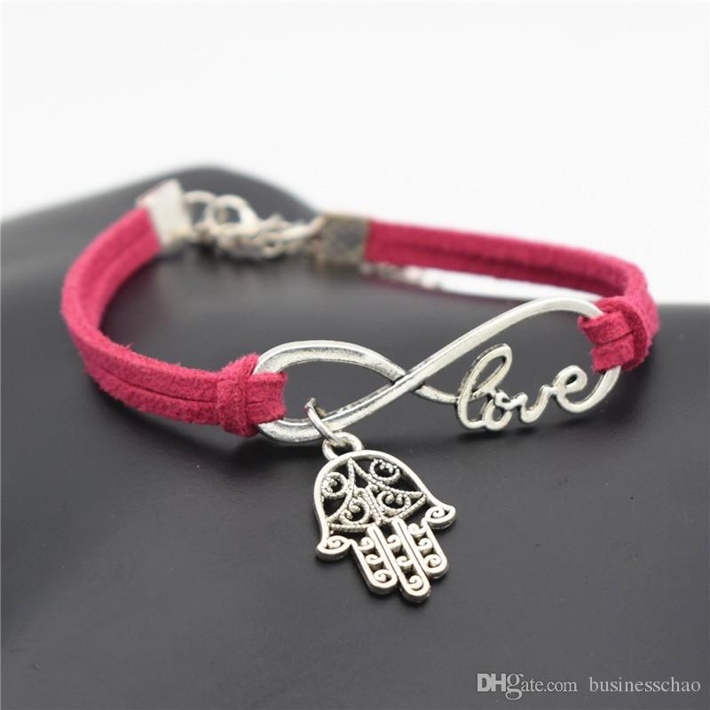 Infinity Love Hamsa Symbol Evil Eye Fatima Hand Palm Pendant Bracelets Rose Red Leather Suede Rope Friendship Charm Wristlet Trinket Jewelry