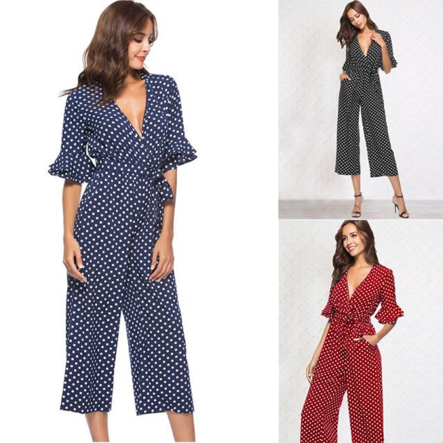 bcfcb69d6ca 2019 2019 New Ladies Red Jumpsuit Sleeves V Neck Dot Print Jumpsuit Spring  And Autumn Fashion Casual Women S ClothingS XL From Armhole