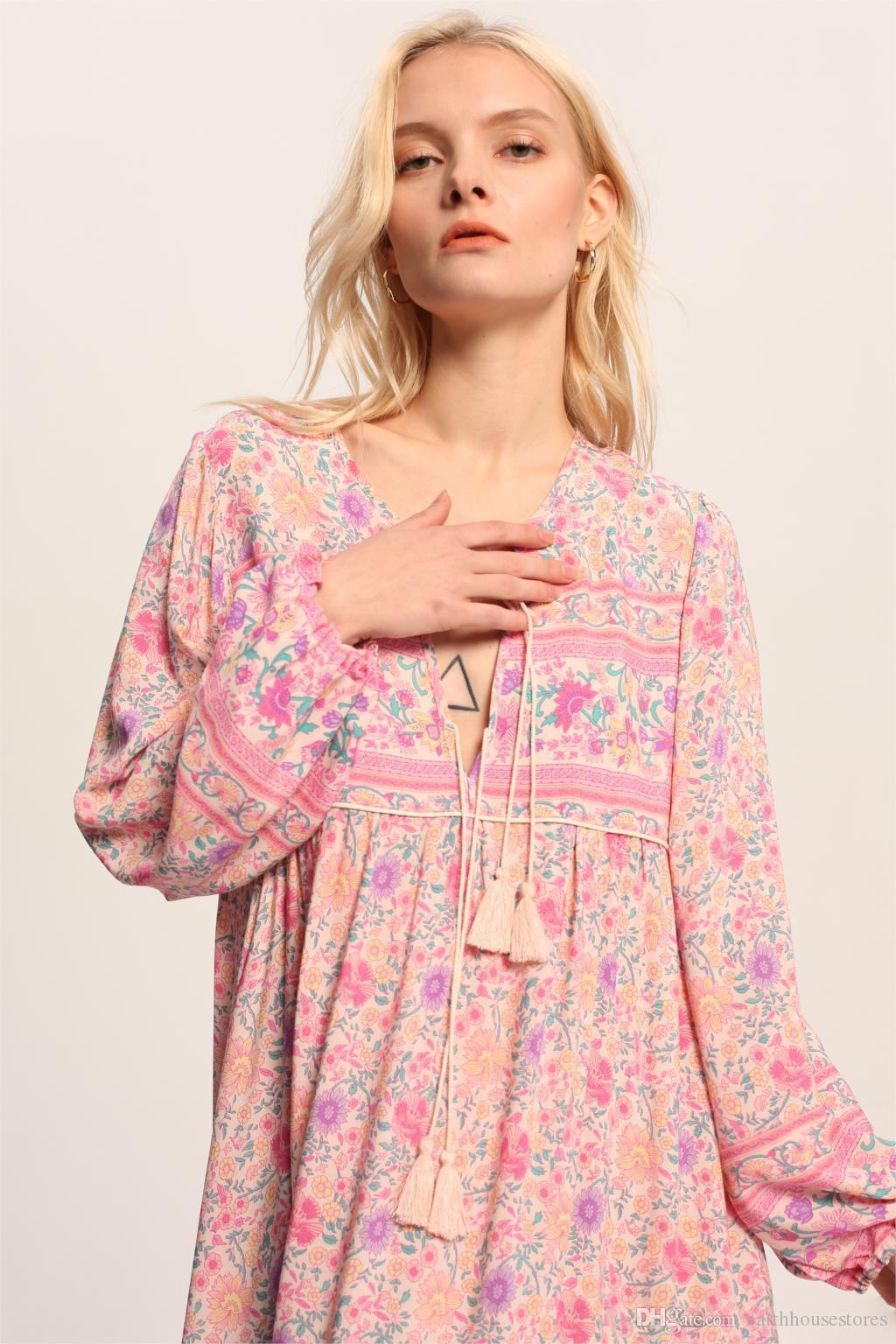 277bdcacd Compre Vestido Corto Bohemio De Algodón Vestidos Con Estampado Floral  Elegante Hippie 2019 Manga De La Linterna De Primavera Vestido De Las  Mujeres Vestidos ...