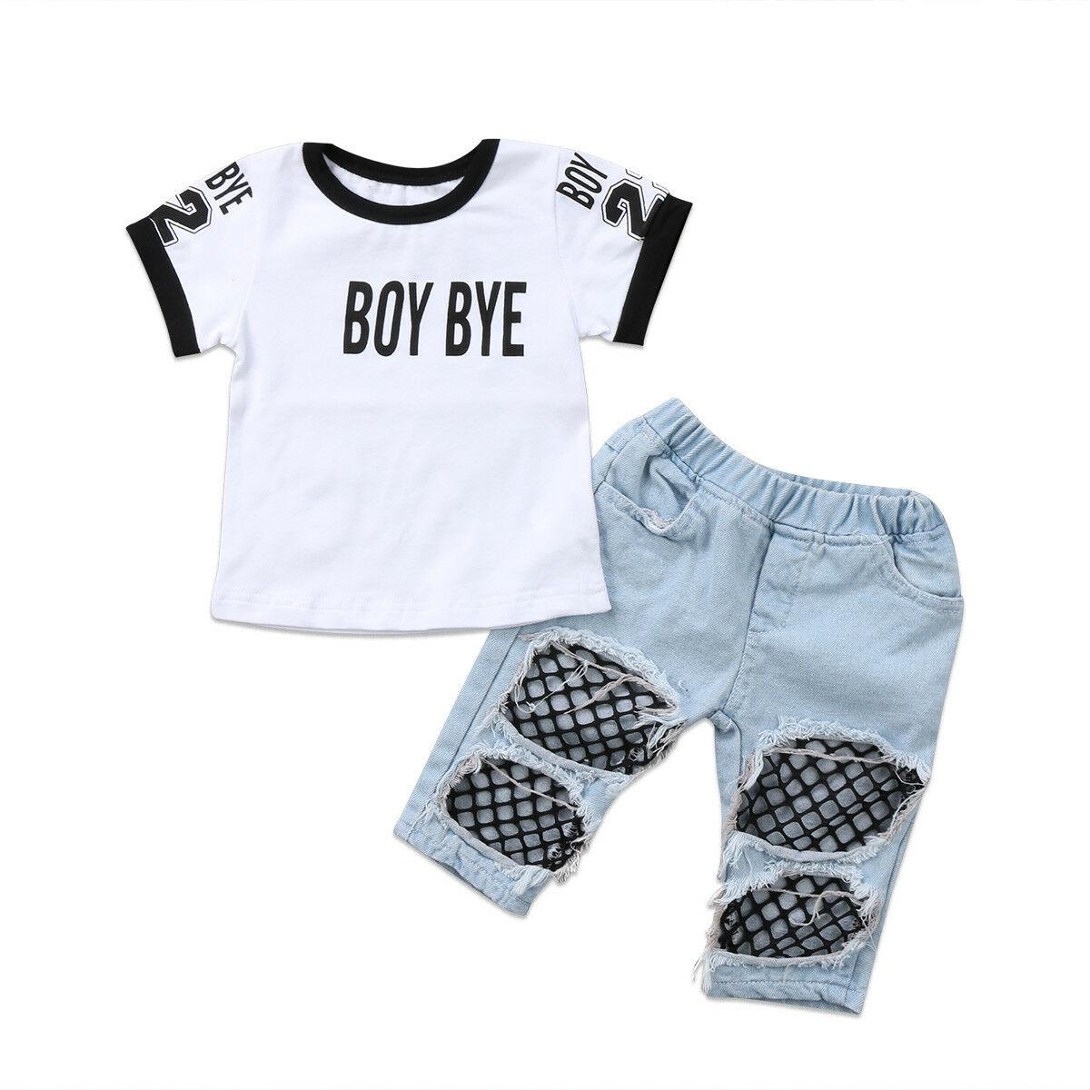 Newborn Baby Girls Tops Tee Shirt Mesh Hole Pants Denim Jeans Outfit Set Clothes Children Enfant Girl Letter Top Hole Pant 2PCS