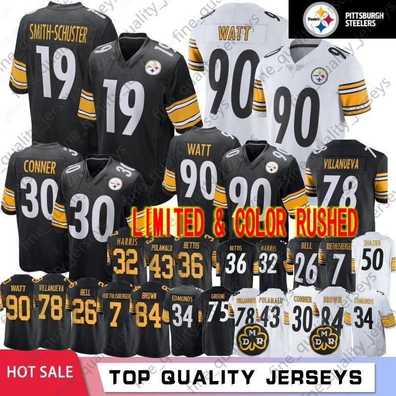 7be6d8b8d 2019 19 Juju Smith Schuster Pittsburgh 84 Antonio Brown Steelers Jerseys 90  T.J. Watt 30 James Conner 43 Troy Polamalu 78 Villanueva 2019 From ...