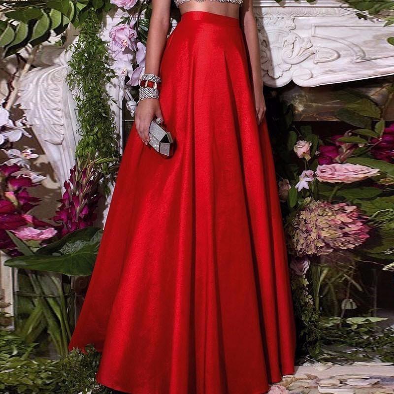 abe8855678 Compre Formal Chic Hot Piso Rojo Faldas De Longitud Para Las Mujeres ...