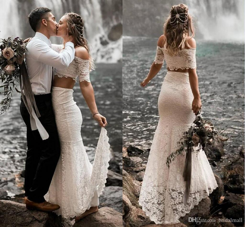 White Lace Two Piece Beach Wedding Dresses 2019 Gorgeous Off The