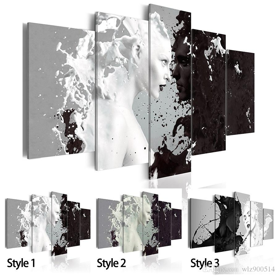 No Frame Canvas Print Modern Fashion Wall Art The Black And White Abstract Ink Character Love For Home Decoration Choose Color Size