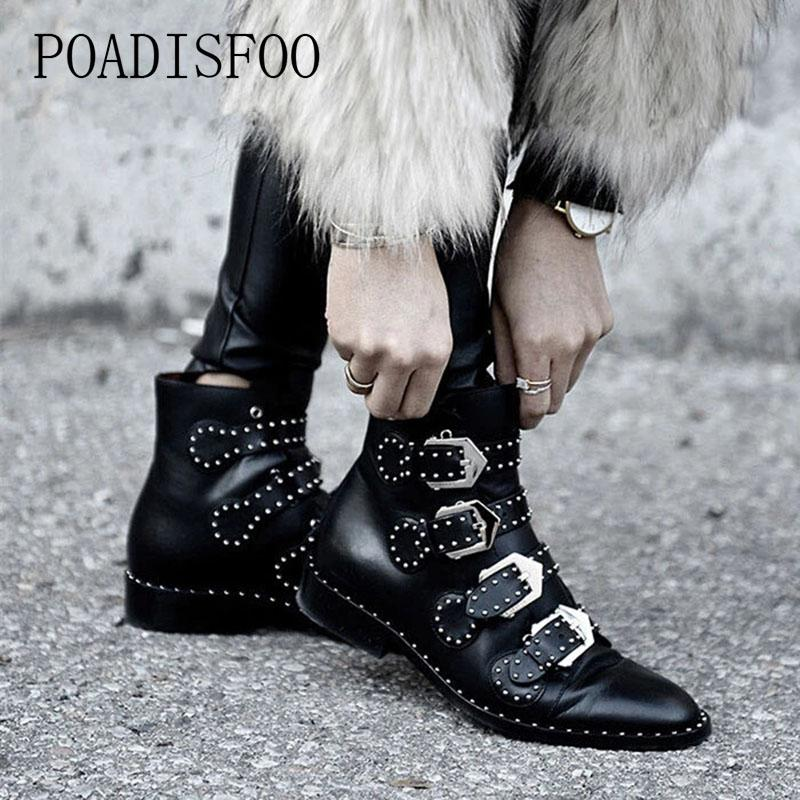 LTARTA Woman Black Ankle Boots Buckles Rivets Low Heeled High Women Boots Zapatos Mujer Ladies Shoes Size 42 HYKL-6618