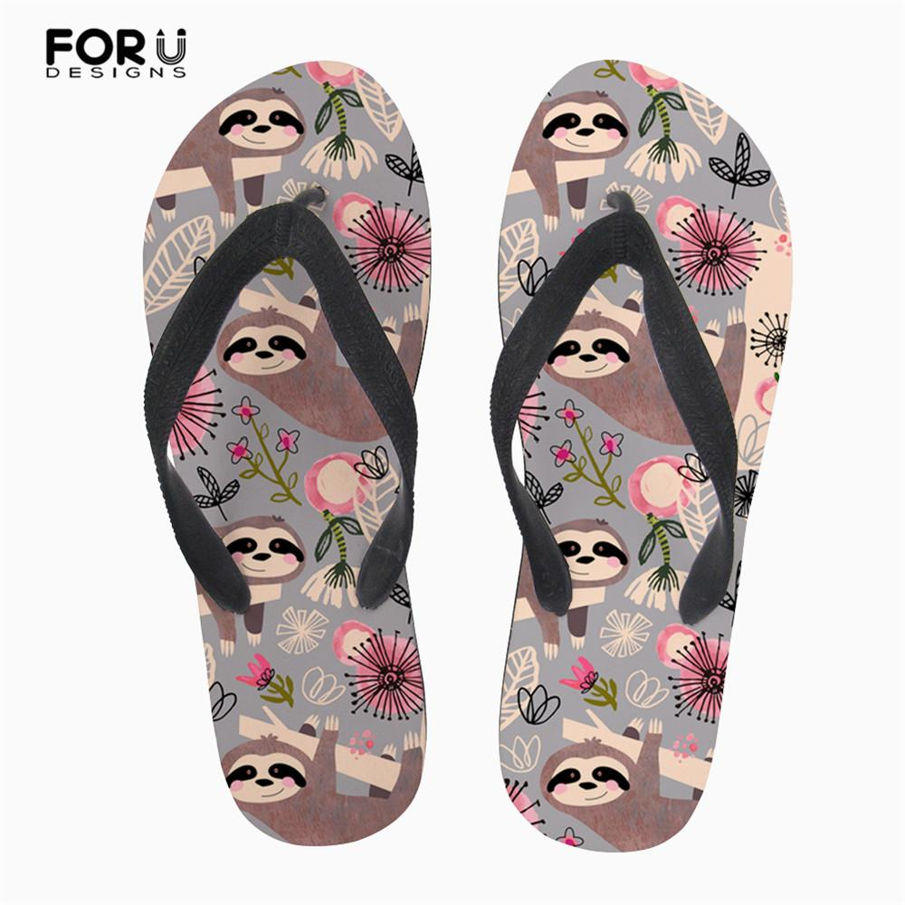 e0d9a9252 FORUDESIGNS Summer Women Flip Flops Cute Sloth Floral Pattern Slip On Home  Slippers Woman Beach Light Water Pool Sandals Girls Slipper Socks Moccasins  For ...