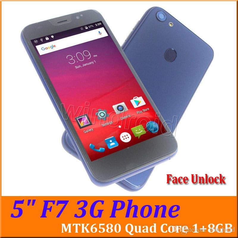 5 inch 3G Smart Cell phone Android 6.0 MTK6580 Quad Core 1G 8GB Mobile Dual SIM Cam WCDMA unlocked Face Unlock F7 Smartphone Cheapest 50pcs