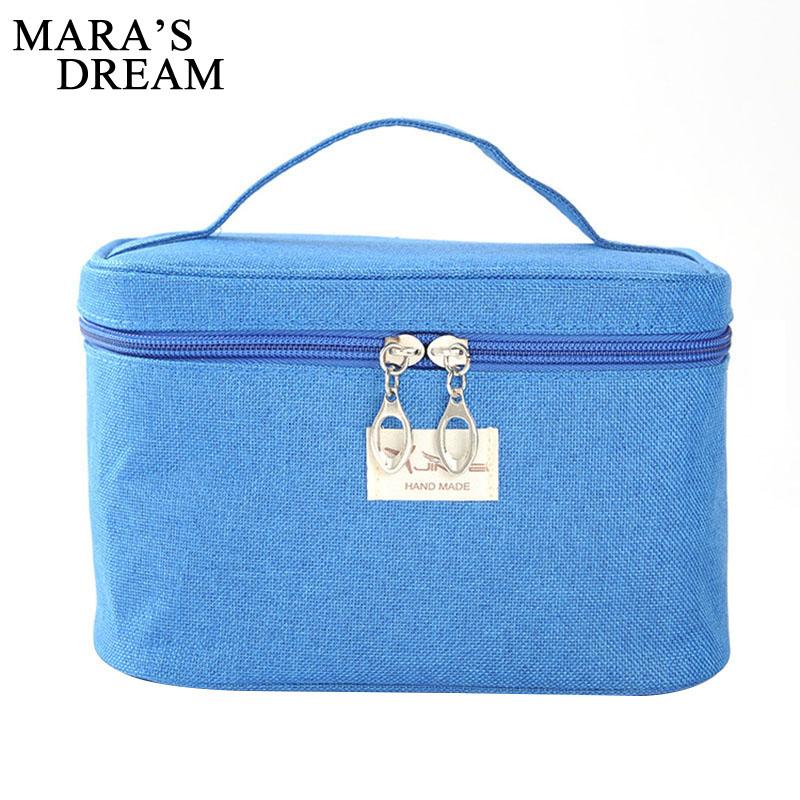 Mara's Dream Women Cosmetic Cases large capacity solid color canvas Women storage bag casual simple hand wash bag